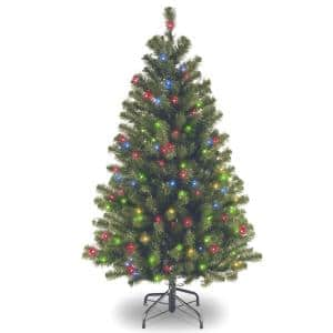 4.5 ft. North Valley Spruce Artificial Christmas Tree with Multicolor Lights