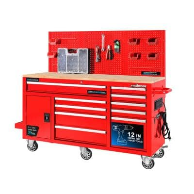 62 in. W x 22 in. D 10-Drawer Tool Chest Cabinet with Pegboard Back Wall Heavy-Duty Mobile Workbench in Red