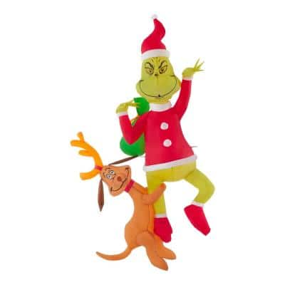6 ft Pre-Lit LED Airblown Hanging Grinch with Max Christmas Inflatable