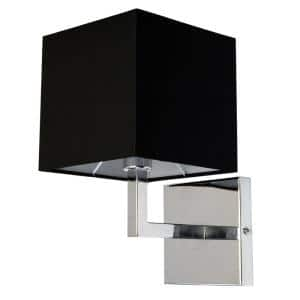 1-Light Polished Chrome Wall Sconce with Black Shade