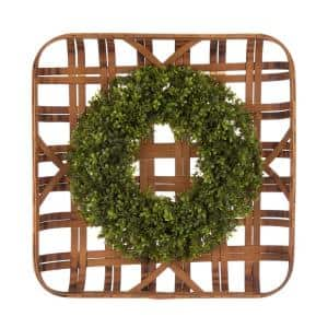 18 in. Dia Boxwood Wreath with 24 in. L Bamboo Basket