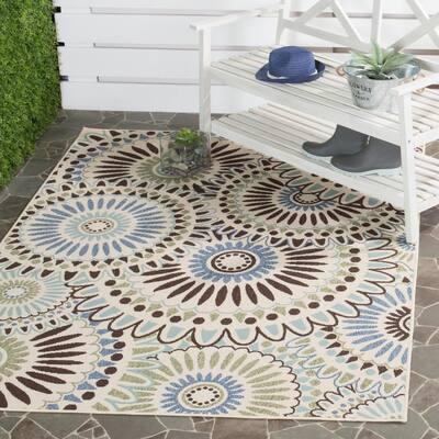 Veranda Cream/Blue 3 ft. x 3 ft. Floral Geometric Indoor/Outdoor Square Area Rug