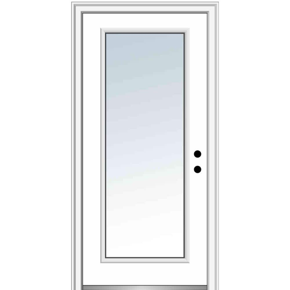 Mmi Door 36 In X 80 In Left Hand Inswing Full Lite Clear Classic Primed Steel Prehung Front Door Z000783l The Home Depot