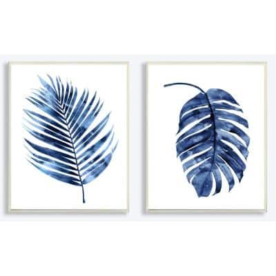 """10 in. x 15 in. """"Indigo Dark Blue Palm Frond Plant Painting Duo"""" by Artist Melonie Miller Wood Wall Art(2-pieces)"""