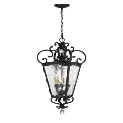 Brixton Ivey 3-Light Sand Coal and Soft Brass Accents Outdoor Lantern Pendant with Clear Ripple Glass