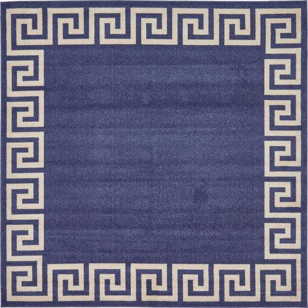 Reviews For Unique Loom Athens Modern Navy Blue 8 0 X 8 0 Square Rug 3135730 The Home Depot