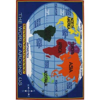 Fun Time Kids World Map Multi Colored 5 ft. x 8 ft. Area Rug