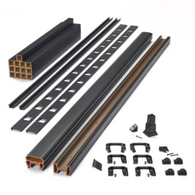 Trex6 ft. x 42 in. Transcend Composite Rail Kit with Charcoal Black Square Balusters-Horizontal