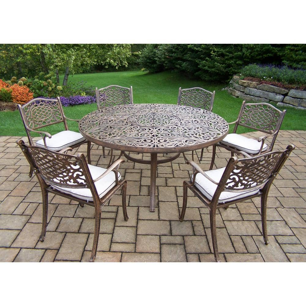 7 piece aluminum outdoor dining set with 60 in round table and 6 cushioned cast aluminum arm chairs hd2205t 2012c6 om 13 ab the home depot