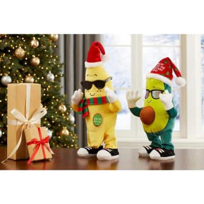 10.63 in. Animated Dancing Christmas Banana and Avocado Asst.