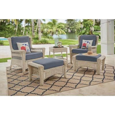 Park Meadows Off-White Wicker Outdoor Patio Lounge Chair with CushionGuard Steel Blue Cushions