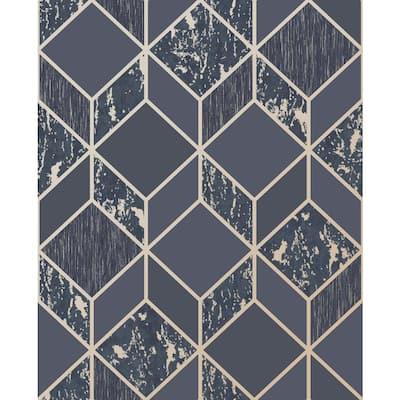 Vittorio Geometric Charcoal/Rose Gold Wallpaper Sample