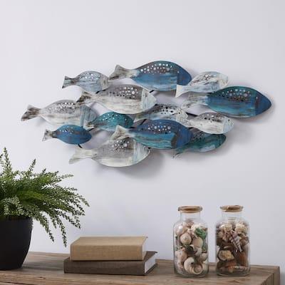 Coastal School of Fish Metal Wall Art