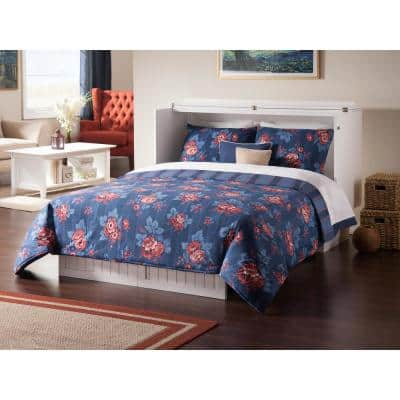 Nantucket Murphy Bed White Queen Chest with Charging Station and Coolsoft Mattress