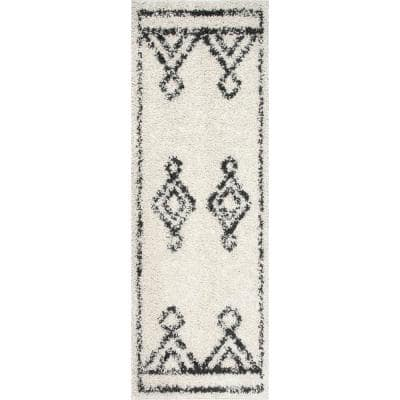 Mira Moroccan Diamond Shag Off White 2 ft. 8 in. x 10 ft. Runner Rug
