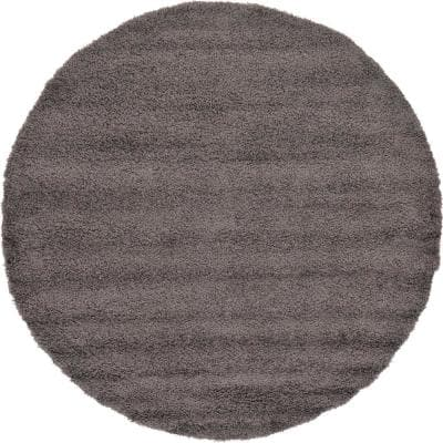 Solid Shag Graphite Gray 8 ft. Round Area Rug