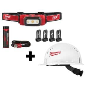 475 Lumens LED Rechargeable Hard Hat Headlamp w/BOLT White Type 1 Class C Front Brim Vented Hard Hat