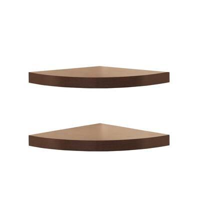 11.5 in. x 11.5 in. Walnut Laminate Corner Radial Shelves (Set of 2)