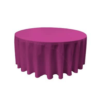 120 in. Magenta Polyester Poplin Round Tablecloth