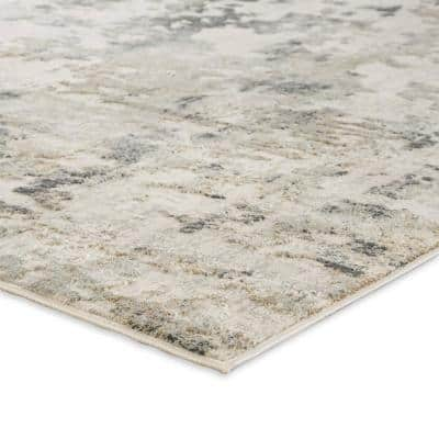 Machine Made White Sand 4 ft. x 6 ft. Abstract Area Rug