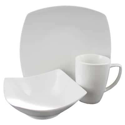 Zen Buffetware 12-Piece Traditional White Stone Dinnerware Set (Service for 4)