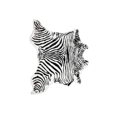 Faux Zebra Black/White 4. 25 ft. x 5 ft. Cowhide Rug