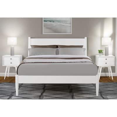 Mid-Century White, Full Size, Panel Headboard, Platform Bed