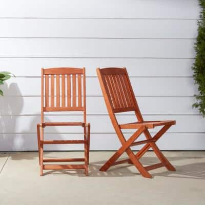 Malibu Folding Wood Outdoor Dining Chair (2-Pack)