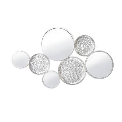 Circle 39 in. Silver Metal Wall Decor