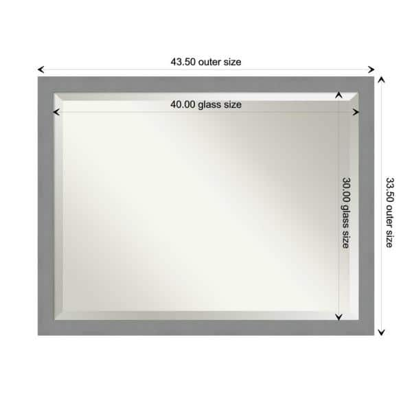 Amanti Art Medium Rectangle Brushed Silver Metallic Beveled Glass Modern Mirror 33 5 In H X 43 5 In W Dsw4593696 The Home Depot