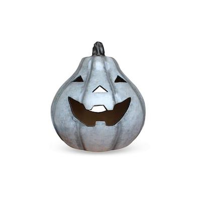 13 in. White Smiling Pumpkin Tea Light Holder