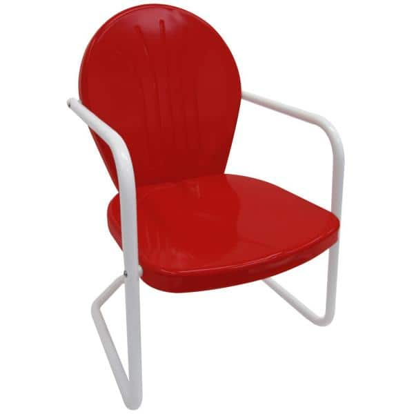 Leigh Country Retro Red Metal Patio, Vintage Metal Outdoor Chairs