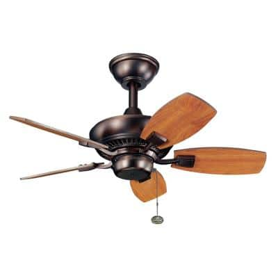 Canfield 30 in. Indoor/Outdoor Oil Brushed Bronze Downrod Mount Ceiling Fan