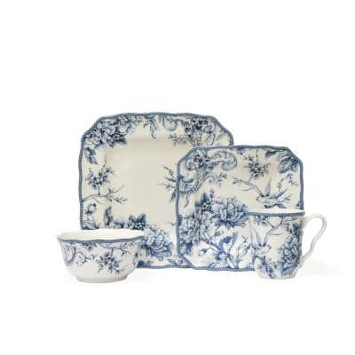 Adelaide 16-Piece Blue and White Dinnerware Set