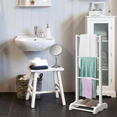 3-Bar Acacia Wood Freestanding Bathroom Towel Rack in White with Bottom Storage Shelf