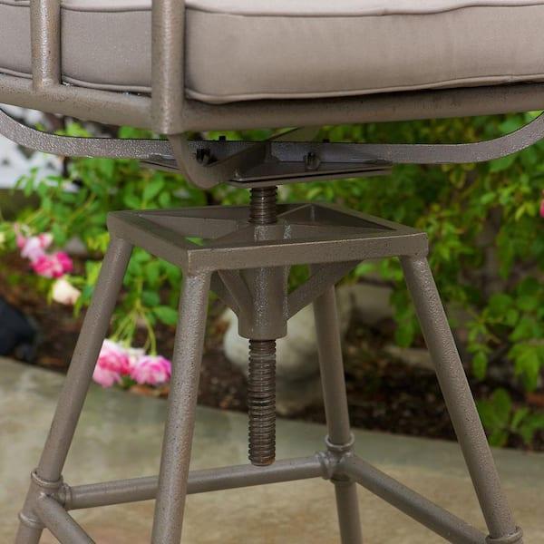 Noble House Derek Swivel Metal Outdoor Bar Stool 2 Pack 67067 The Home Depot