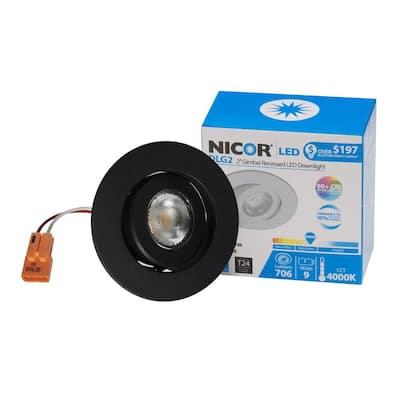 2 in. Black (3000K) LED Retrofit Recessed Gimbal Trim Kit, 92.4 CRI