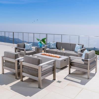 Valentina Khaki 7-Piece Aluminum Patio Fire Pit Conversation Set with Khaki Cushions