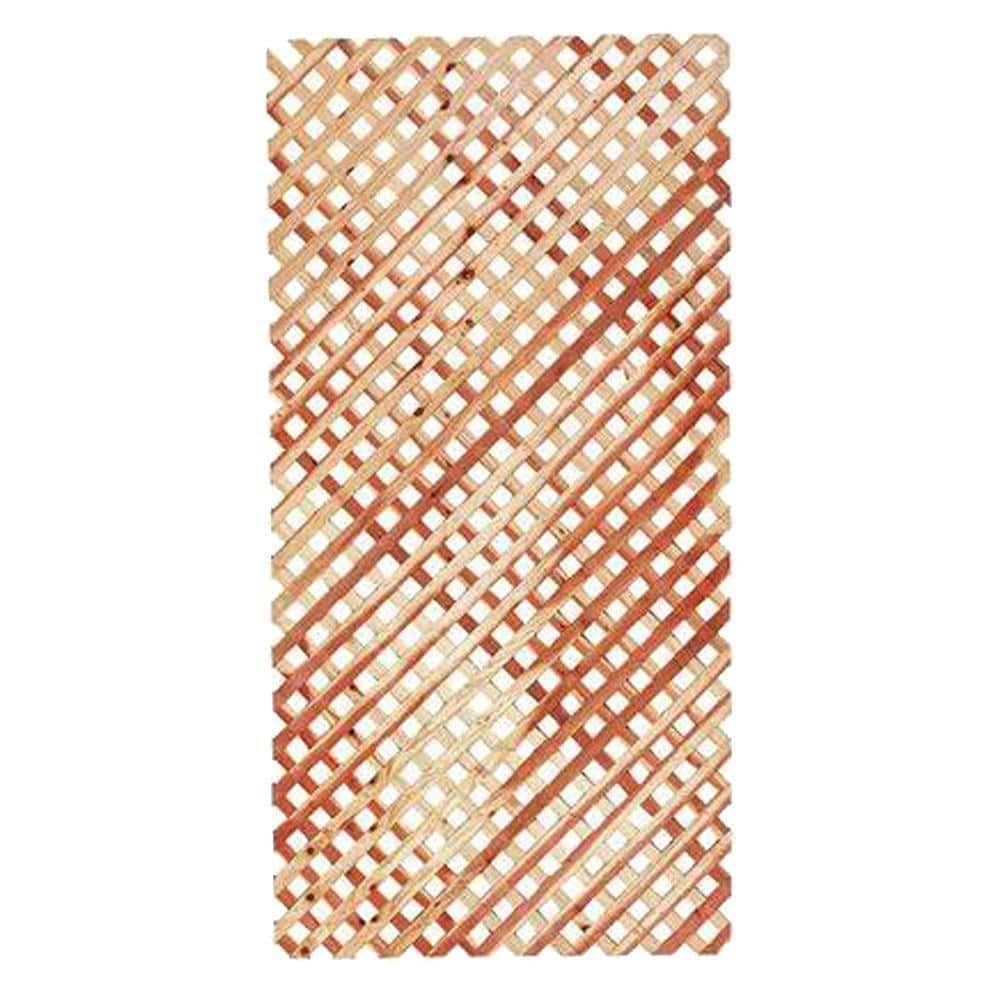 1 4 In X 48 In X 8 Ft Actual 0 25 In X 48 In X 96 In Redwood Privacy Lattice Panel 314633 The Home Depot