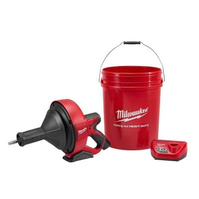 M12 12-Volt Lithium-Ion Cordless Auger Snake Drain Cleaning Kit With (1) 1.5Ah Battery, 5/16 in. x 25 ft. Cable, Charger