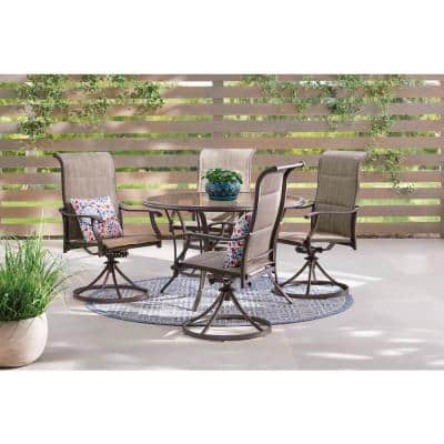 Riverbrook Espresso Brown 5-Piece Outdoor Patio Aluminum Round Glass Top Dining Set with Padded Sling Swivel Chairs