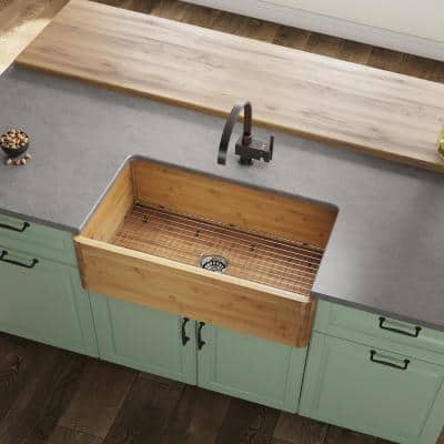 Farmhouse/Apron-Front Bamboo 33 in. Single Bowl Kitchen Sink with Additional Accessories