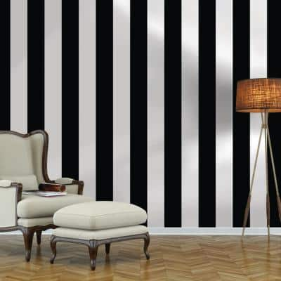 Stripe Black and White Peel and Stick Wallpaper (Covers 28 sq. ft.)