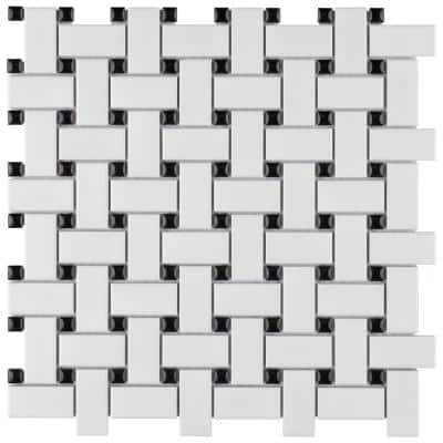 Metro Basketweave Matte White with Black Dot 11-3/4 in. x 11-3/4 in. Porcelain Mosaic (9.79 sq. ft./Case)