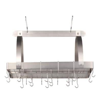 30 in. x 20.5 in. x 15.75 in. Satin Nickel Pot Rack with Grid and 24 Hooks