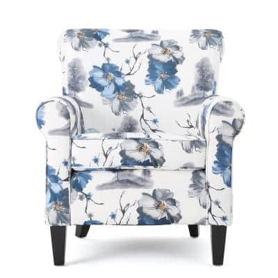 Multi-Colored Fabric Floral-Designed Arm Chair
