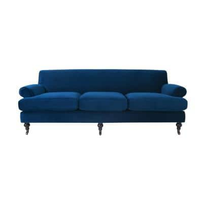 Alana 88 in. Navy Blue Velvet 3-Seater Lawson Sofa with Metal Casters