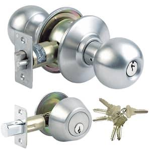 Stainless Steel Grade 3 Combo Lock Set with Entry Door Knob and Deadbolt, 18 SC1 Keys Total, (3-Pack, Keyed Alike)