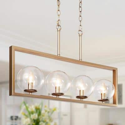 Modern Gold Candlestick Island Chandelier 30 in. 4-Light Brass Rectangle Chandelier with Globe Seeded Glass Shades
