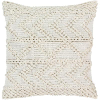 Naomh White Striped Textured Down 22 in. x 22 in. Throw Pillow